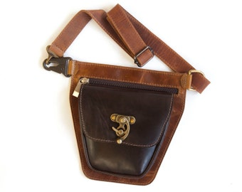 Brown leather hip bag, brown leather waist pouch - the Rover