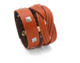 Orange Leather Cuff Bracelet, Orange Cuff Bracelet - Free Shipping - the Atena