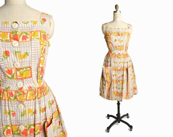 Vintage 1950s Floral Print Dress / 50s German Dress / 50s Day Dress / Orange Floral Dress - women's small