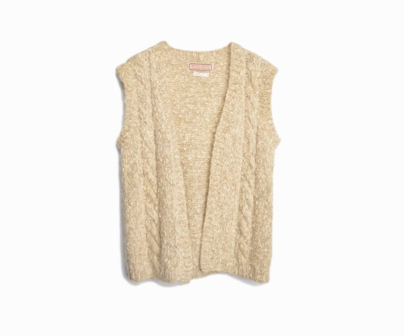 Vintage Irish Wool Boucle Sweater Vest in Barley - women's medium