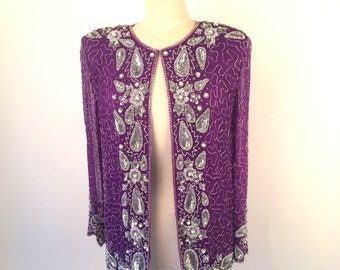 Beaded Purple and Silver Silk Indian Embroidered Jacket Top Sequined 80s Vintage Blouse Top Women Large