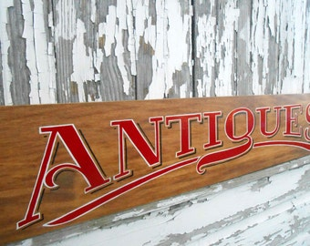 Antiques Sign, Hand Lettered, Hand Painted, Vintage Style, Red with White Outline & Black Shadow