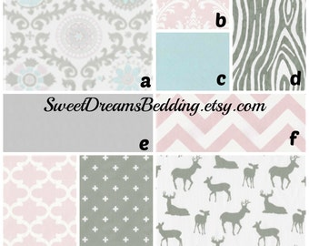 Custom Crib Bedding You Design   in  PInk and Gray woodland damask bedding