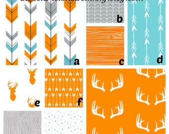 Custom Bedding Woodland Arrows Deer  in Aqua Orange Gray