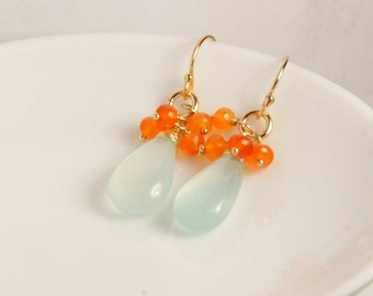 Aqua Chalcedony and carnelian dangle earrings in gold, 14K gold filled ear wires or gold plated ear wire with cubic zirconia