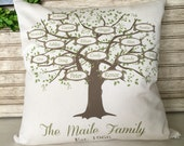 Family Tree | Mother's Day Gifts | Family Name | Family Sign | My Family Tree Pillow Personalized with Names and Est. Date - Insert Included