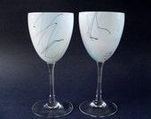 Steven Maslach Wine Glasses - Pair of Goblets - Signed Art Glass