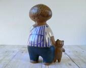 Lisa Larson Malin with Teddy Bear for Gustavsberg Sweden - Figurine - Larsons Ungar Children