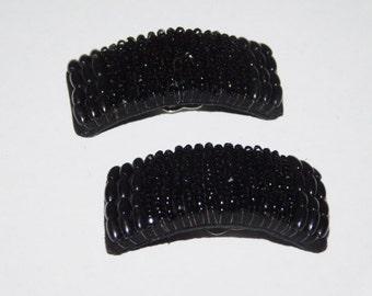 Vintage Black Glass Beaded Shoe Clips