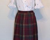 AUTUMN ARRIVAL 25% OFF Clearance Sale Vintage 1960s Skirt - 60s High Waist Pleated Skirt - Cranberry Plaid