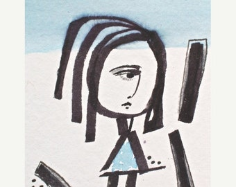"""ON SALE Blue Girl with Triangle Dress-Original on Paper ACEO -2.5""""x3.5"""" - Minimal -Print also Available on Japanese Paper- Minimal Modern Gi"""
