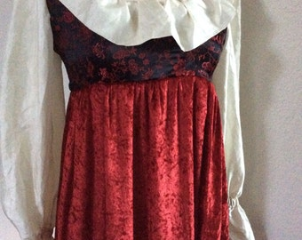 RUSH SHIPPING Renaissance Style Dress, Halloween Costume, Red Velvet, Brocade, Ruffle Collar - Pirate Dress XS