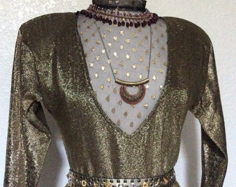 Cleopatra Vintage Gown Halloween Costume, Adult Women's Gold Egyptian Costume - Pharaoh / Nefertiti - Medium