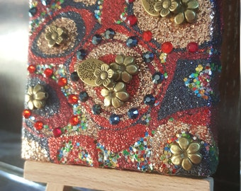 Navy Blue, Gold and Red Glitter Canvas Art Original Abstract Artwork no. 28, mini canvas with flowers
