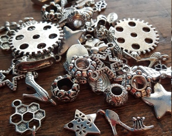 Charm and Bead Mix, 50 Charms, Mixed, Silver Tone, UK Seller, random mix, bargain price while stocks last