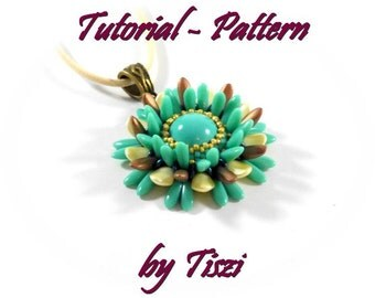 Beading pattern, Tutorial of beaded pendant Chrysanthemum with daggers, PDF instructions, Step by step