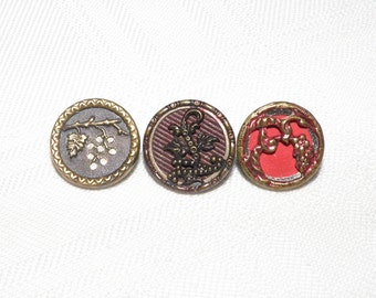 3 Small Tinted Victorian Metal Picture Buttons with Grapes