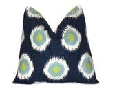 "Pillow Cover ONE Navy Blue, Aqua, Lime Green, White Decorator Pillow 18 inch Premier Prints Modern Geometric 18"" Polkadot Circular Ikat cm"