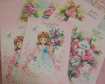 pretty pink glitter cards