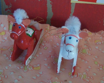 two wooden rocking horses ornaments
