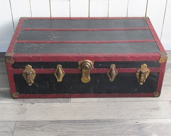 """1920s-30s Black and Red Steamer Trunk - Foot Locker """"Great for Coffee Table, Storage, Decorating"""""""