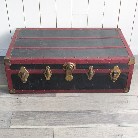 1920s-30s Black And Red Steamer Trunk Foot Locker