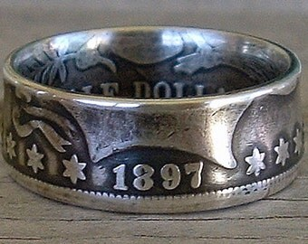 1897 Barber Half Dollar Coin Ring (90% Silver) (Available in sizes 8.5 through 12)