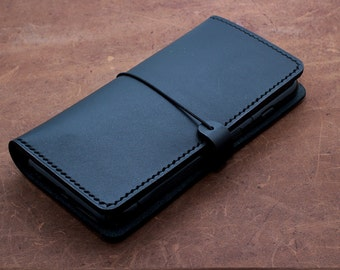 ANDROID-PHONE wallet case (Free Personalization) in Vegetable Tanned BLACK