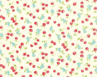 Vintage Picnic Fabric Bonnie & Camille Fabric Fruit Quilting Fabric Cream Quilt Fabric - By The 1/2 Yard