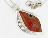 Dryhead Agate Sterling Silver Handcrafted Pendant Banded Pink and Orange