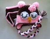 Diaper Cover/Owl Hat Set  for 0-3 Month Baby or Reborn Doll in Brown with Pink Trim