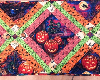 Halloween Table Runner in Orange, Red, Neon Green and Midnight Blue