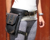 Leather Leg Holster Thigh Bag Leather Utility Belt Steampunk Burning Man Festival Hip Belt Bag with Pockets in Black HB33c