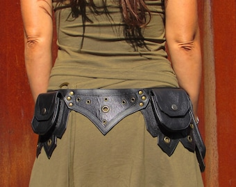 Leather Utility Belt Leather Hip Belt Bag Festival Burning man Belt with Five Pockets in Black HB26h * Free Shipping*