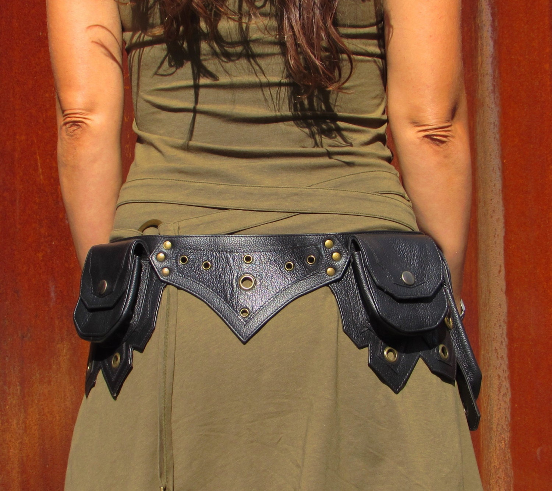 leather utility belt leather hip belt bag festival by leilamos
