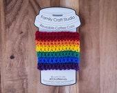 LGBT Rainbow Crochet Coffee Cozy