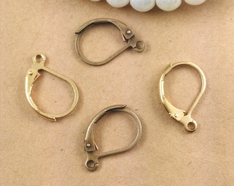 100 Brass Plain Lever-back Earwire 10x15mm Raw Brass/ Antique Bronze/ Silver/ Gold/ Rose Gold/ White Gold/ Gun-Metal Plated Earrings- Z7792
