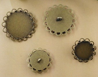 30 Blank Brass Button Base W/ Antique Bronzed Double Lace Frame 14mm/16mm/ 18mm/ 20mm/ 25mm/ 30mm Round Bezel Setting wholesale- Z7790