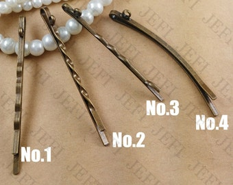 50PCS Hair Pins wholesale- Brass Antique Bronzed 55mm Bobby Pin withe Ring, 4 styles available- Z7681