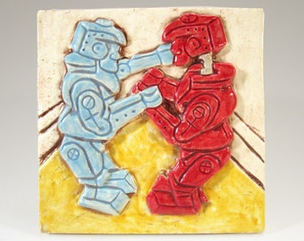 Handmade Ceramic Art Tile, BATTLING ROBOTS, 4 x 4, Ceramic Wall Art, Classic Retro Toys