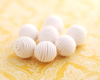 Handmade beads, polymer clay beads, snow white beads, wrapped beads - 7 pcs