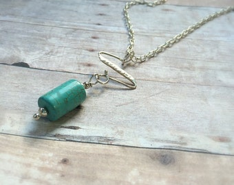 Long Sterling Turquoise Pendant Necklace - Turquoise Necklace - Long Sterling Necklace - Bohemian Necklace - Gift Idea For Her