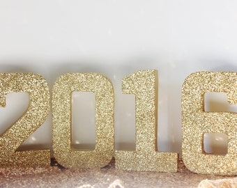 Sale 2016 GLITTER GRADUATION Numbers Glittered Free Standing Gold Silver Custom Number New Years Eve Nye Party Decor Sign Signage Decoration