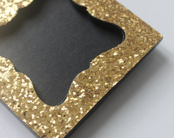 MINI GLITTER FRAME W Chalkboard Insert Photo Gold Glittery Sparkle Picture Frame Table Numbers Escort Cards Place Name Favor Vintage Wedding