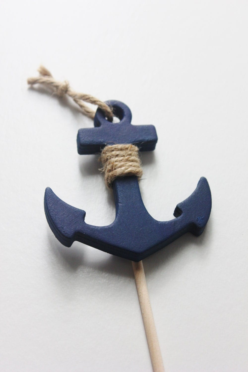 Anchor cake topper navy blue nautical beach wedding theme for Anchor decoration