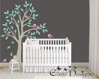 Tree with birds and nest vinyl wall decal, removable decals stickers