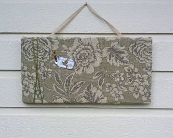 Bulletin Pin Board, Floral printed burlap in sage green and tan with a green twine accent, autumnal colors for fall decor style