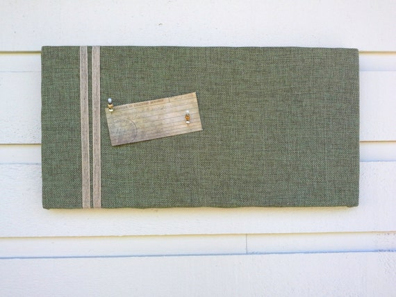 Polyester linen pin board memo board in olive green for your for Linen cork board