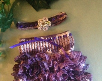 Purple Ruffle Girls Skirt with matching headband