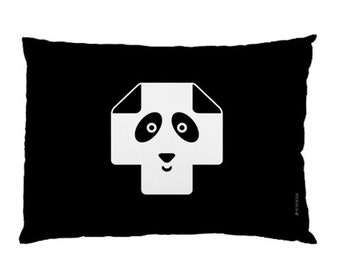 Kids Pillow / Kids Room / Swiss Cross Pillow Case / Panda Pillow / Modern Children Bedding / Monochrome Nursery / Black and White Pillowcase